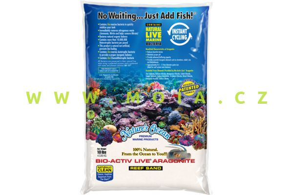 Nejjemnější živý písek Nature´s Ocean Bio-Activ Aragonit White 0,1-0,5 mm sáček 9,07 kg